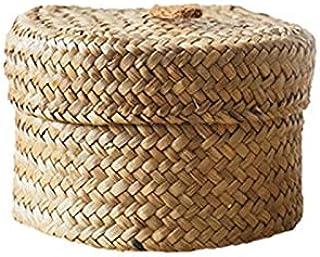 WFBD-CN Algues Snack Boîte de Rangement Boîte de Finition à la Main avec Couvercle - Armoire tissé Bureau Panier de Rangem...