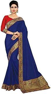 Sabaira Women's Sana Silk Fabric Blue Color Zari Work Work Saree (SBRSA3200_Blue_Free Size)