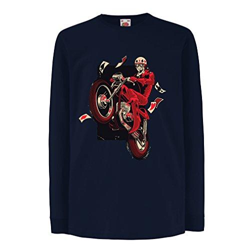 Camisetas de Manga Larga para Niño Motociclista - Ropa de Motocicleta, Ropa Retro (3-4 Years Azul Multicolor)