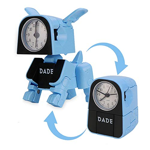 Creative Cartoon Deformation Robot Alarm Clock Bedroom Wake Up Robot Dog Clock Funny Reversible Toy Children