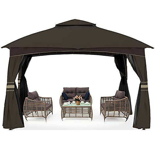 ABCCANOPY High Grade Gazebos for Patio 10x10 with Mosquito Netting (Brown)