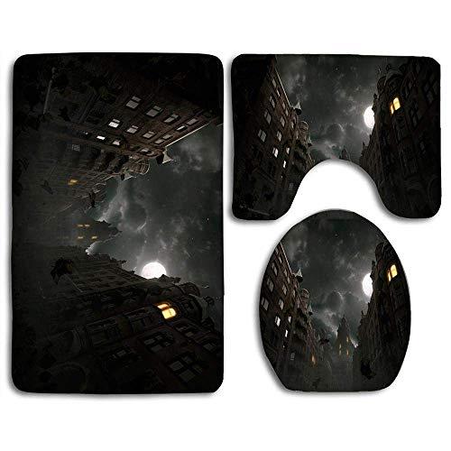 N\A 3-teilige weiche Sicherheitsteppich-Sets Arcane Nights Inklusive Badmatte Contour Rug Lid WC-Abdeckung für Schlafzimmer Küche Fußmatten Duschteppiche Set