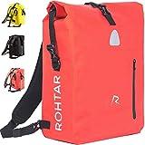 Rohtar 3in1 Fahrradtasche - wasserdicht & reflektierend - als Gepäckträgertasche, Umhängetasche & Rucksack einsetzbar - ideale Gepäcktasche fürs Fahrrad - 18L/25L (schwarz/gelb/rot)