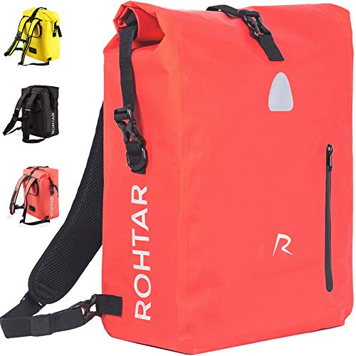 Rohtar 3in1 Fahrradtasche - wasserdicht & reflektierend - als Gepäckträgertasche, Umhängetasche & Rucksack einsetzbar - ideale Gepäcktasche fürs Fahrrad - 18L, Rot