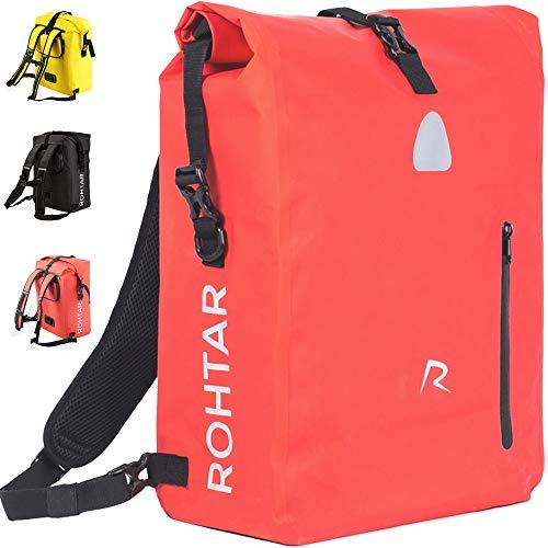 Rohtar - Borsa per Borse Bici - Zaino - Borsa per Bici - La Borsa da Viaggio Ideale per Ciclisti - Cinghie e Ganci nascondibili e Tessuto in PVC 100% Impermeabile - 18L/25L - Nero/Rosso/Giallo