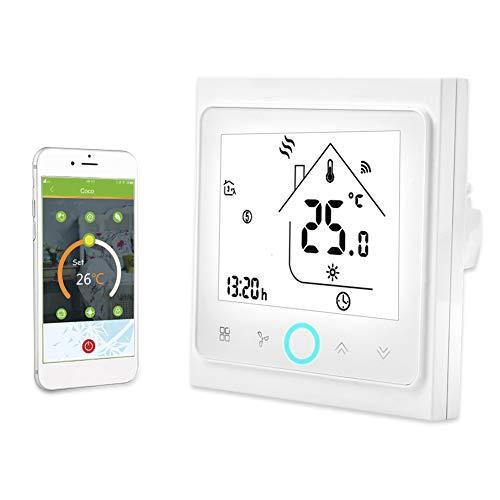 Termostato Inteligente, Controlador WiFi de 2/4 Tubos, Ahorro de Energía, Almacenamiento Más Preciso y Flexible, Pantalla Táctil LCD Para Aire Acondicionado Central(2 Pipe)