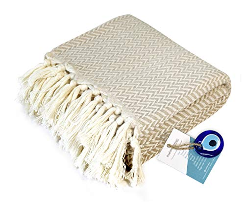 "Luxury Throw Blanket Decorative Lightweight with Fringe 100% Cotton |40""x71""| for Chair Couch, Boho Farmhouse Rustic Decor Turkish Towel + Evil Eye Beach Bath Spa Gym Yoga Picnic| White Cream Chevron"