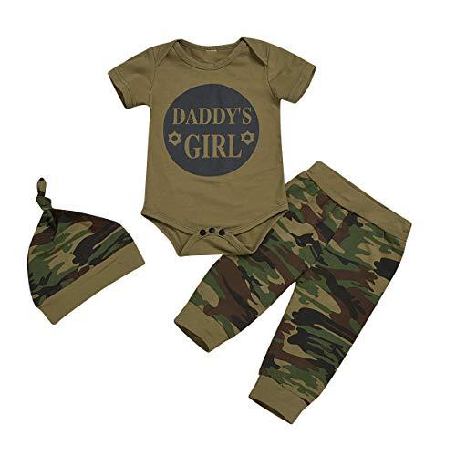 Borlai - Conjunto de ropa para bebé y niña, diseño de camuflaje con pantalones largos y sombrero, 0-24 meses Daddys Girl 0-6 Meses