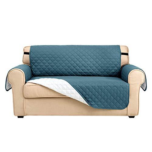 H-CAR Funda protectora impermeable para sofá de 1 plaza, para salón, antideslizante, para perros, 2 plazas, color azul