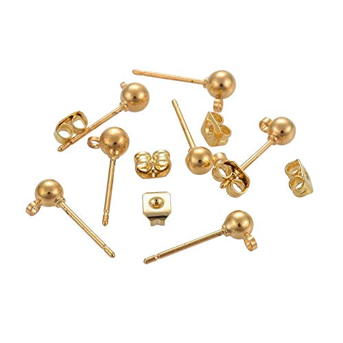 Airssory 20 Sets Brass Golden Plated Earrings Ear Studs Posts with Loop and Butterfly Earring Backs Stoppers for Earring Jewelry DIY Making Findings - Ball: 4mm