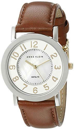 Price comparisons anne klein women 39 s ak 1631mpti two tone backlight function brown leather strap for Anne klein leather strap