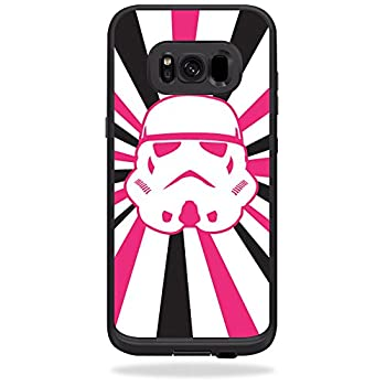 MightySkins Skin Compatible with LifeProof Fre case for Samsung Galaxy S8+ Plus - Pink Star Rays | Protective Durable and Unique Vinyl Decal wrap Cover | Easy to Apply Remove | Made in The USA