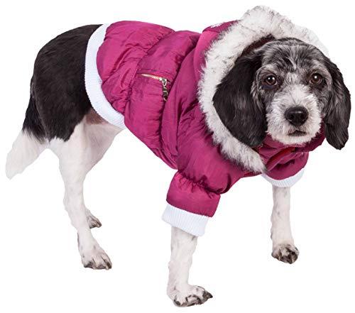 PET LIFE Classic Metallic Fashion Pet Dog Coat Jacket Parka w/ 3M Insulation and Removable Hood, Large, Metallic Hot Pink