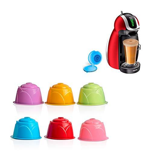 Cápsulas de Café Reutilizables, LTXDJ Vistoso Filtros Cápsulas de Café Apto para Cafetera Dolce Gusto,6 Piezas de Tazas