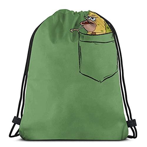 WY-GF Cinch Bags Caveman Spongebob (Primitive Spongegar) Pocket Shirt...