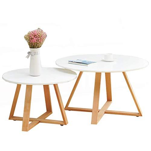 AOIWE - Mesa de centro redonda, combinación sencilla de mesa de café, juego de mesa con incrustaciones de madera, mesa auxiliar, para sala de estar, dormitorio, balcón, 4 colores (color: B)
