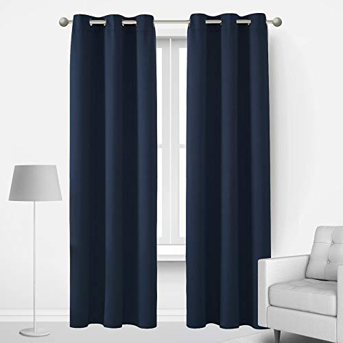 Deconovo Pair of Blackout Curtains Room Darkening Window Drapes with Grommets Light Blocking Noise Cold and Heat Blocking for Teen Kids Adults Bedroom, Set of 2, Each Panel 42x72 in, Navy Blue
