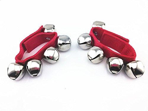 Yueton 1 Pair 5 Jingle Bell Rhythm Band Wrist Bells (red)