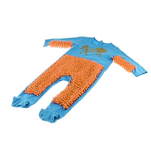 SM SunniMix Lustiger Baby Kleidung Wischmop wischen Boden Strampler Overall Jumpsuit zum Krabbeln Kleinkinder Bekleidung, Farbwahl - Blau + Orange, 90cm