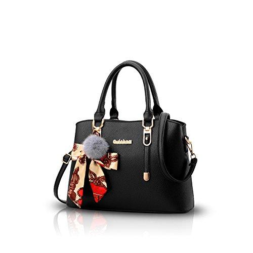 NICOLE&DORIS Neu Fashion Frauen Karriere Handtasche Tasche Umhängetasche Mode Strasse Damentaschen Weiche PU Black
