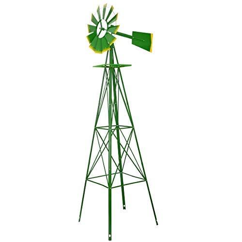 Fullwatt 8FT Ornamental Wind Mill Yard Windmills with Red Tips Metal Windmill Weather Vane Weather Resistant (Green)