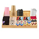 Coffee Condiment Organizer, 11 Compartment Brown Bamboo Coffee Station For Countertop, Coffee Bar Accessories