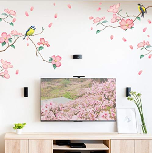 Wand-Aufkleber Wandtattoo Papagei-Blume PVC Selbstklebend Entfernbare Wandsticker Wandbild Deko für Kinderzimmer Babyzimmer Wohnzimmer Schlafzimmer Küche Flur Wanddeko