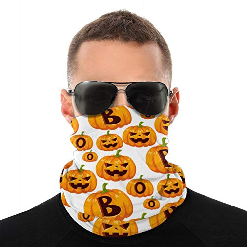 Patrón sin fisuras con calabazas de Halloween Variedad Cabeza Bufanda Brazales Sombrero de pirata Gorros Pasamontañas para polvo Viento Protección solar