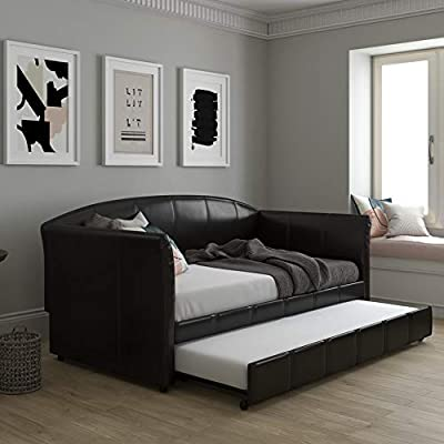 DHP Halle Upholstered Daybed and Trundle, Sofa Bed Fits Twin Size Mattress of 6-Inches (Not Included), Brown