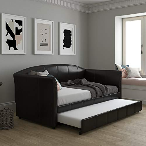 DHP Halle Upholstered Daybed and Trundle, Sofa Bed Fits Twin Size Mattress of 6-Inches (Not...