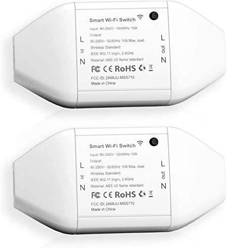 Meross WLAN Schalter funktioniert mit Apple HomeKit, Smart Switch Fernbedienung mit Sprachsteuerung mit Siri Alexa, Google Assistant, SmartThings, DIY Smart für elektrische Haushaltsgeräte, 2pcs