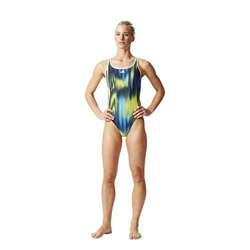 adidas Damen Badeanzug INF 3S Graphic Suit, Schwarz/Blau/Gelb, 40