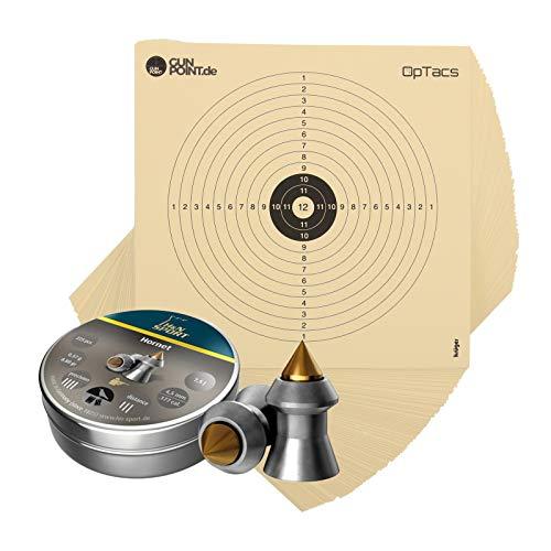 OpTacs H&N Diabolos Hornet 4,5 mm + 100 bersagli per fucili ad aria compressa 14 x 14 cm