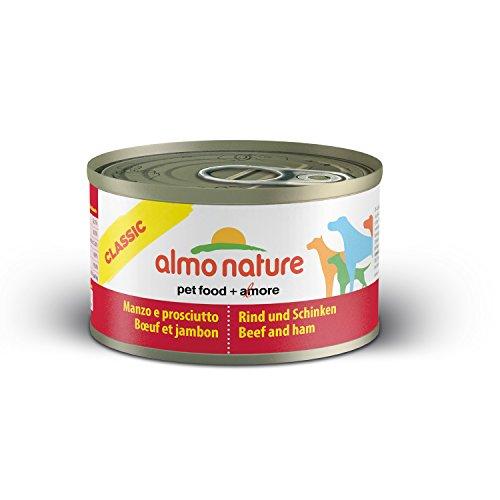 almo nature Comida Húmeda para Perros Natural de Vacuno y Jamón (24 x 95g). Alimento para Perros Monoproteíco Enlatado HFC Cuisine. Snack Complementario sin Gluten.