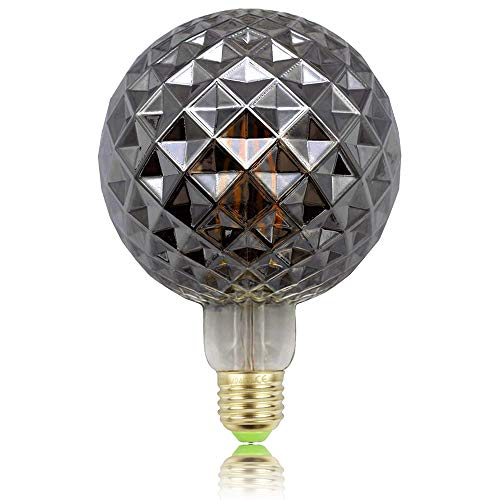 Tianfan Retro-Glühbirnen, LED-Glühfaden, Edison-Glühbirnen, 4W, Rauchglas, 220/240V, E27, Kristall, dekorative Glühbirnen Art Deco G125 Crystal