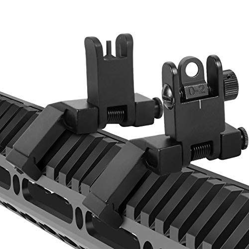Gogoku Flip Up Iron Sight Front and Rear Sight Mounts Set Low Profile Standard 45 Degree Offset for 20mm Rail