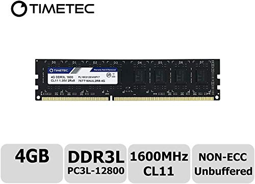 Timetec Hynix IC DDR3L 1600MHz PC3-12800 Unbuffered Non-ECC 1.35V CL11 2Rx8 Dual Rank 240 Pin UDIMM Desktop Memoria Modulo Upgrade (4GB)