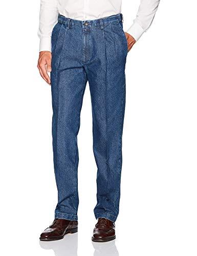 Haggar Men's Stretch Denim Expandable Waist Classic Fit Pleat Front Pant, Medium Blue, 40Wx30L