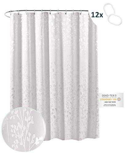 arteneur® - Weiß mit Silber-Ornamenten - Anti-Schimmel Duschvorhang 180x200 mit Öko-Tex Standard 100 - Beschwerter Saum, Blickdicht, Wasserdicht, Waschbar, 12 Ringe & E-Book