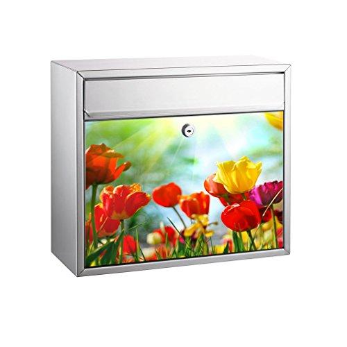 SHIRT-TO-GO Briefkasten Aufkleber-Dekorfolie für Briefkästen selbstklebender Folienaufkleber 37 x 33 cm - Motiv Tulpenfeld