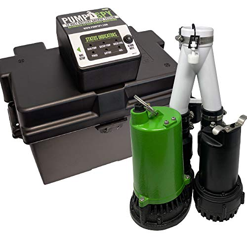 PumpSpy PS2000C Pre-Assembled SmartPump Combination Wi-Fi Connected 1/2HP Primary Sump Pump and 12V Battery Backup Sump Pump with Internet Monitoring and Alerts (3 Year Warranty)