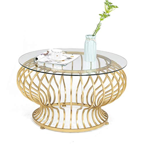 Modern Round Glass Coffee Table, Circle Tempered Glass Coffee Side Table Storage, Cocktail Dining Snack or Reading Table, Living Room Effect Furniture