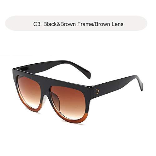 Zonnebrillen Sunglasses Oversized Zonnebrillen Dames Retro Shield Shape Luxy Design Big Frame Rivet Shades Zonnebrillen Dames Uv400 Zwartbruin