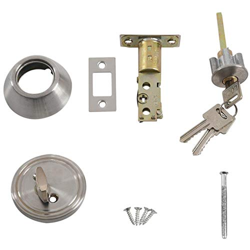Household Door Lock Safety Single Cylinder Bolt Lock Silver