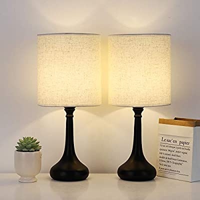 Bedside Table Lamps Set of 2, Desk Modern Nightstand Lamps with Black Metal Base Fabric Lamp Shade for Bedrooms, Living Room (Without Bulb)