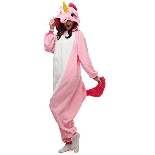 Canberries Unisex Erwachsene Einhorn Pyjama Tier Onesie Jumpsuits Oberall Hausanzug Kigurum Fastnachtskostuem Schlafanzug (XL, Rosa Einhorn)