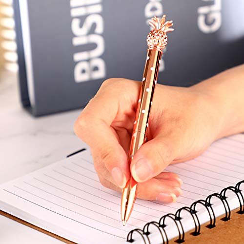 Pineapple Pens Metal Ballpoint Pens Rose Gold Pens for School Office Supplies, 1.0 mm, Black Ink (12 Pieces) Photo #2