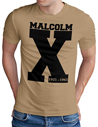 OM3® Malcolm X T-Shirt | Herren | Icon Black Power Aktivist Revolution | Khaki, M