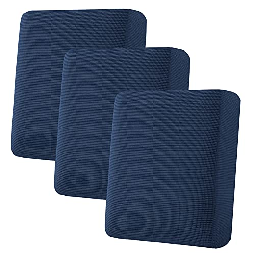 H.VERSAILTEX Super Stretch Individual Seat Cushion Covers Sofa Covers Couch Cushion Covers Slipcovers Featuring Thick Jacquard Textured Twill Fabric (3 Piece Sofa Cushion Covers, Navy)