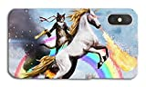 DECO FAIRY Compatible with iPhone XR, Cartoon Anime Animated Lazer Superhero Vigilante Cat Hero Riding a Unicorn Series Trasparent Translucent Silicone Cover Case